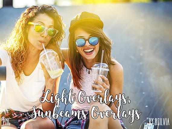 40 Light Overlays, Sunbeams Overlays, Light Leaks Photo Layer, Digital Backdrop, Natural sun Light Effects, Photoshop Overlays