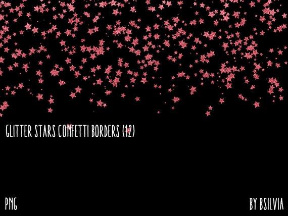 Glitter Stars Confetti Borders Pack, Gold Glitter Stars, Silver Glitter Stars, Rose Gold Glitter Stars, Copper Glitter Stars, Commercial Use