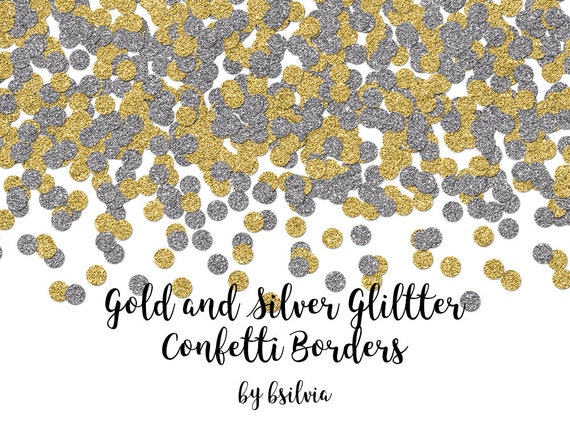 Gold and Silver Confetti Glitter Borders, Gold Glitter Confetti Transparent PNG files, Silver Glitter Confetti Borders, Confetti Overlays