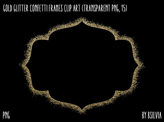 Gold Glitter Confetti Frames Clipart, Transparent PNG, Gold Glitter Design Elements, Digital Scrapbooking Overlay Clip Art, Commercial Use