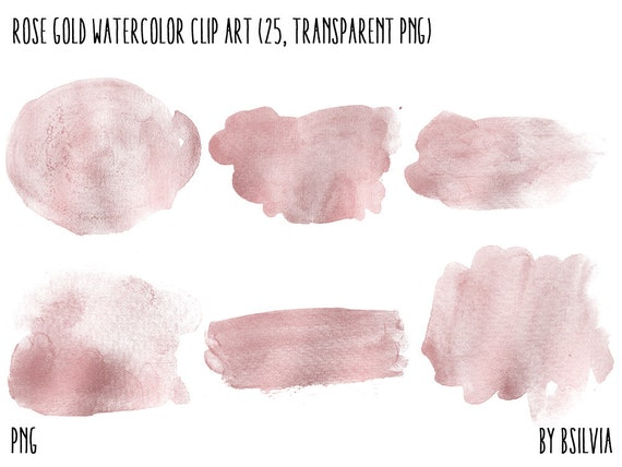 Rose Gold Watercolor Clip Art, Transparent PNG, Rose Gold Clip Art, Watercolor Transparent Clipart, Watercolor Brush Strokes, Commercial Use