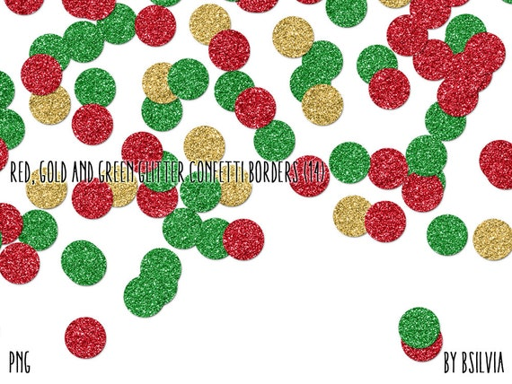 Red, Gold and Green Glitter Confetti Borders Pack, Digital Glitter Confetti, Glitter Borders, Digital Confetti Borders, Commercial Use