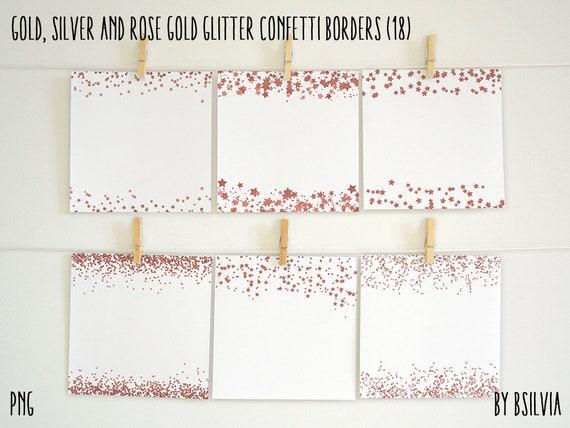 Glitter Stars Confetti Borders, Gold Glitter Stars, Silver Glitter Stars, Rose Gold Glitter Stars, Glitter Stars Confetti, Commercial Use