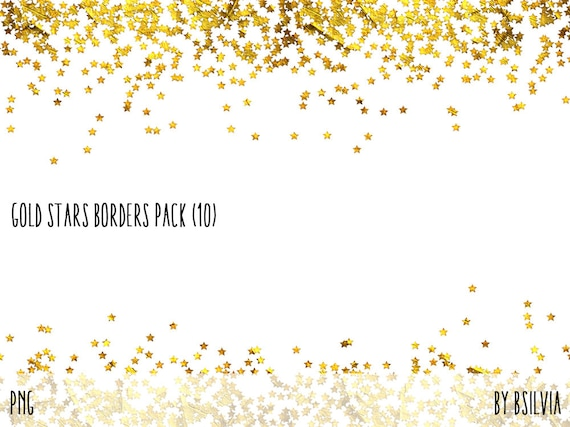 Gold Stars Confetti Borders Pack, Digital Gold Stars Confetti, Gold texture, Gold Foil, Gold Stars Digital Confetti Borders, Commercial Use