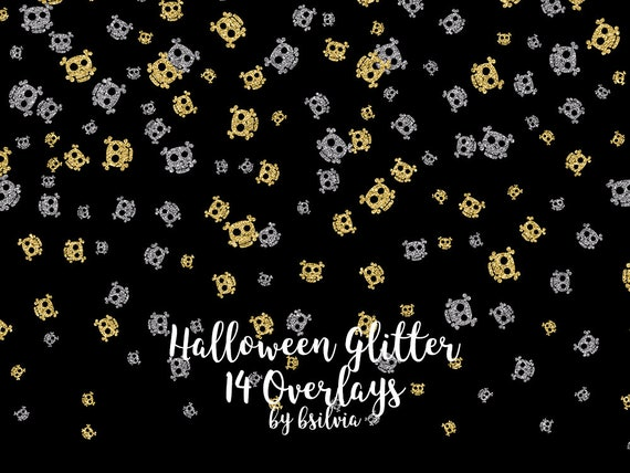 Halloween Glitter Overlays, Pink Skulls Overlays, Gold and Silver Glitter Halloween Overlays, Transparent PNG files, Halloween Overlays
