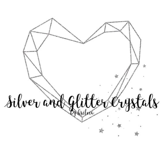 Silver Foil Crystals and Silver Glitter Crystals Clip Art, Silver Polygonal Crystal Frame, Silver Geometric Frame Clip Art, Digital Clip Art