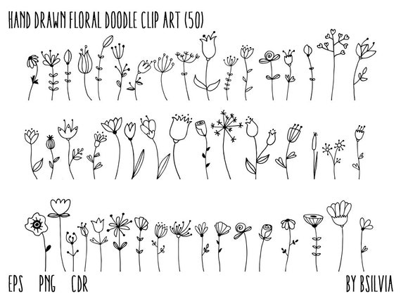 Hand Drawn Floral Doodle Clip Art, Flowers Clip Art, Wedding Clip Art, Vector Illustrations, Vector Files, EPS, AI, CDR, Commercial Use