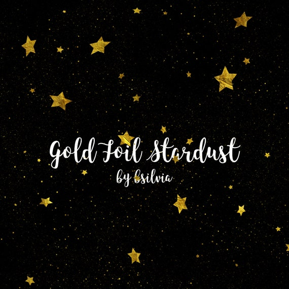 Gold Foil Stardust Clip Art Set, Gold Stars, Gold Clip Art, Magic Dust, Gold Stars Overlay, Night Sky, Transparent PNG files, Commercial Use
