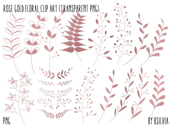 Rose Gold Floral Clip Art, Rose Gold Foil Leaves Clipart, Digital Rose Gold Floral Clipart, Rose Gold Foil Foliage, Rose Gold Leaves Clipart