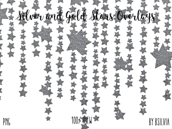 Silver and Gold Stars Overlays, Silver Stars Photo Overlays, Gold Stars Photo Overlays, Digital Gold Stars, Digital Silver Stars, set of 16