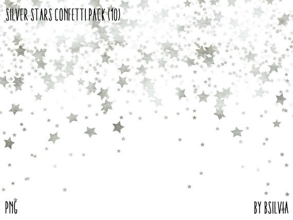 Silver Stars Confetti Backgrounds, Digital Silver Stars Photo Overlays Pack, Metallic Stars Scrapbooking Papers set of 10 transparent PNGs