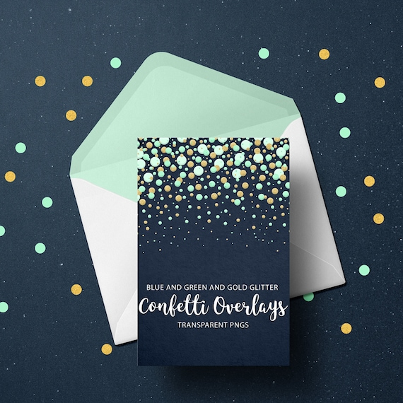 Blue, Green and Gold Glitter Confetti Overlays, Transparent PNG files, Confetti Overlays, Blue Confetti Photo Overlays, Green Confetti