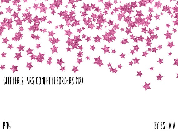 Glitter Stars Confetti Borders Pack, Pink Glitter Stars, Blue Glitter Stars, Green Glitter Stars, Purple Glitter Stars, Commercial Use