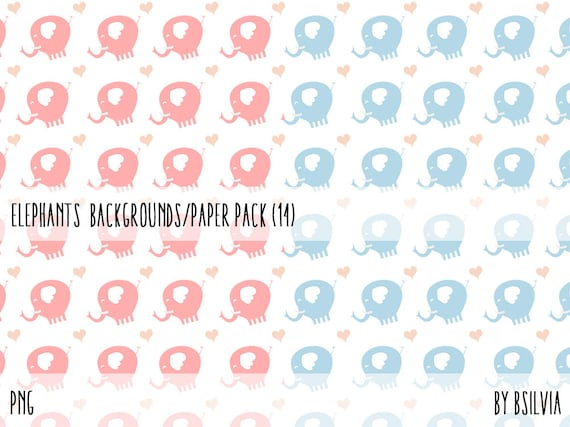 Elephant Digital Papers, New Baby Digital Papers, 12x12 Digital Scrapbooking Papers. Elephant Pattern Scrapbook Paper Pack, Instant Download