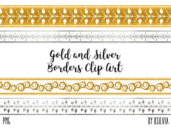 Gold and Silver Borders Clip Art, Gold Borders Clip Art, Silver Borders Clip Art, Transparent PNG, PNG Borders, Scrapbook Embellishment