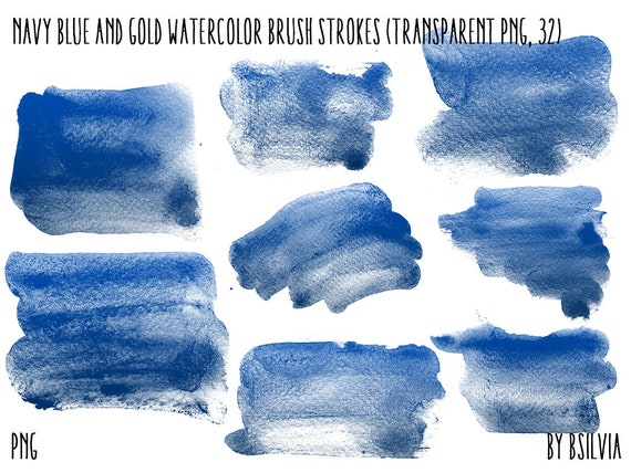 Navy Blue Gold Watercolor Clip Art, Transparent PNG, Gold clip art, Watercolor Brush Strokes, Navy Blue Watercolor Clip Art, Commercial Use