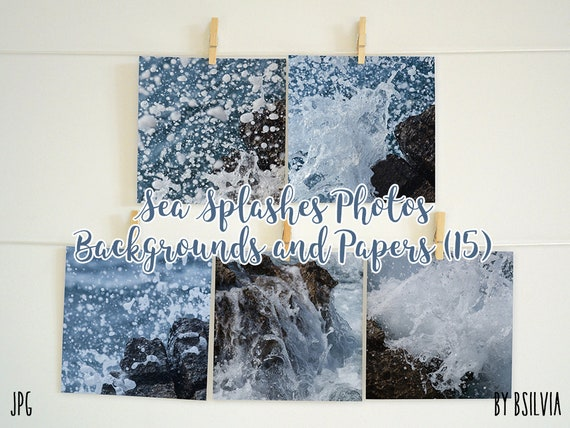 Sea Splashes, Digital photo papers for scrapbooking, Sea splash, Sea waves, 12x12 scrapbooking papers, Sea photography, Commercial Use