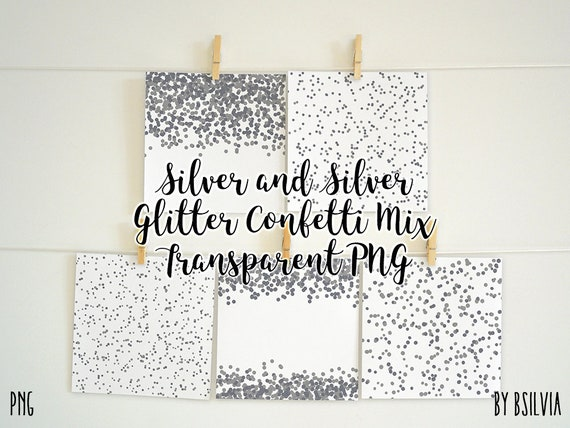 Silver Confetti Overlays, Silver Glitter Confetti Transparent PNG files, Silver Confetti Clip Art, Digital Silver Confetti Photo Overlays