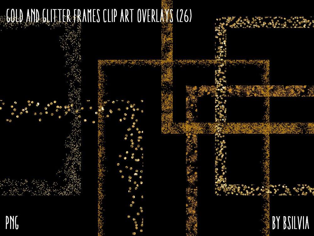 Gold und Glitzer Rahmen Clipart transparente   Etsy