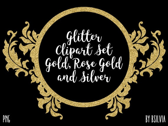 Glitter Clip Art Set, Gold Glitter, Rose Gold Glitter and Silver Glitter Clip Art, Transparent PNG files. Commercial Use