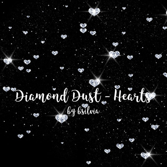 Diamond Dust, Hearts Diamond Dust Overlays, Valentine's Day Clip Art, Sparkle Diamond Transparent PNG files, Digital jewels, Glam Overlays