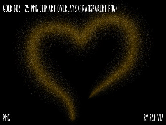 Gold Dust Clipart, Transparent PNG, Gold Overlays, Digital Scrapbooking Overlays, Shiny Gold Overlays, Transparent PNG, Commercial Use