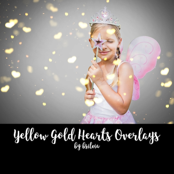 Yellow Gold Hearts Bokeh Overlays, Hearts Bokeh Photoshop Overlays, Valentines Day Yellow Bokeh Overlays, Digital Bokeh Effect, Photo Layer
