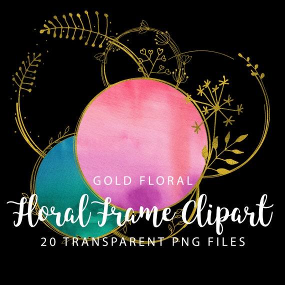 Gold Foil Floral Frame Clipart, Gold Border Clipart, Digital Gold Floral Clip Art, Gold Foil Banner, Digital Scrapbooking Gold Photo Frames