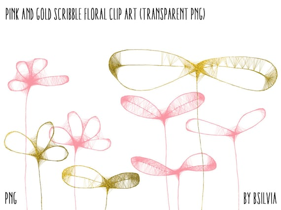 Pink and Gold Scribble Floral Clip Art, Gold Foil Floral Clip Art, Pink Floral Clip Art, Floral Transparent PNG, Scribbled Flowers Clip Art
