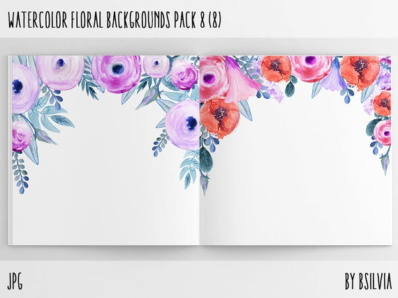 Watercolor Floral Backgrounds with Text Space, Watercolor Flowers Backgrounds Pack 8, Watercolor Flower 12x12 Digital Scrapbook Paper