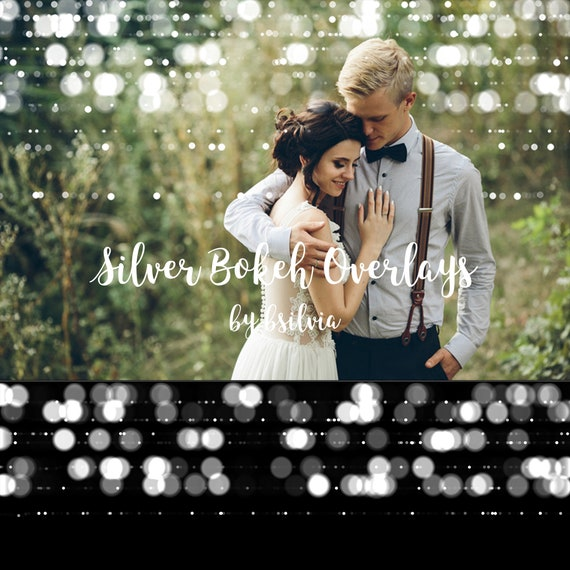 Silver Bokeh Overlays, Bokeh Photoshop Overlays, Silver Bokeh Digital Effect for Photography, Photo Layer, Photo Overlay, Digital Backdrop