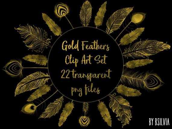 Gold Foil Feather Clip Art, Gold Feathers Clip Art, Digital Gold Feathers Clipart, Gold Feathers, Digital Scrapbooking Gold Feathers Clipart