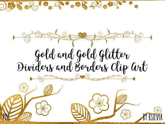 Gold Dividers and Borders Clip Art, Gold Glitter Dividers and Borders Clip Art, Transparent PNG, PNG Gold Dividers, Scrapbook Embellishment