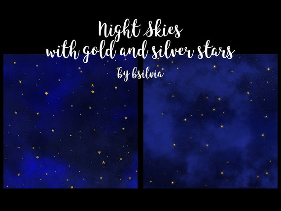 Starry Nights Skies, Night Sky with Gold and Silver Stars, Starry Skies Digital Papers 12x12 inches, Stars Paper, Stars Background, Space