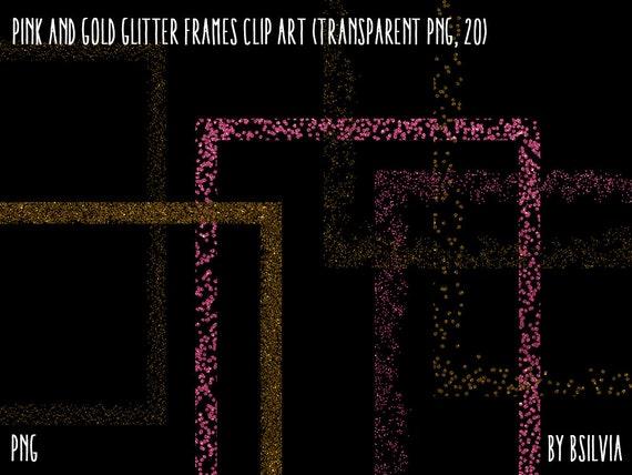 "Pink and Gold Glitter Frames Clipart, Gold Glitter Design Elements, Pink Glitter Digital Frames, 8""x10"" Frames Clip Art, Transparent PNG"