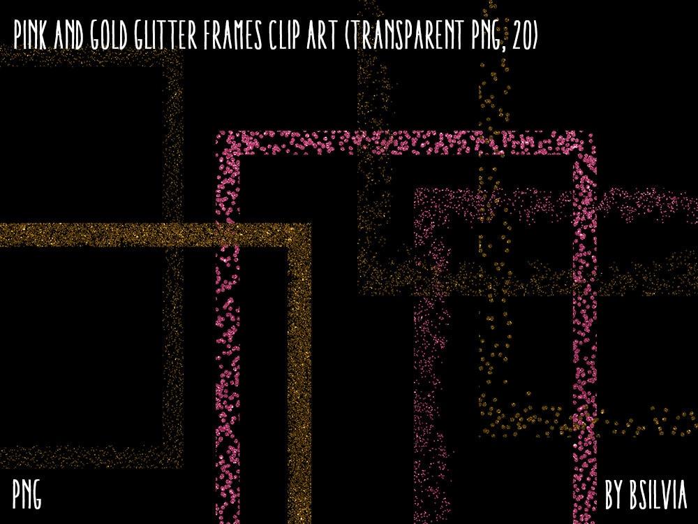 Pink and Gold Glitter Frames Clipart Gold Glitter Design   Etsy