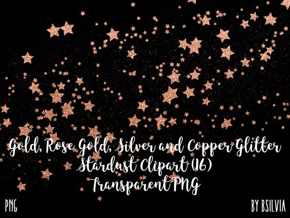 Glitter Stardust Clip Art, Silver Glitter, Gold Glitter, Rose Gold Glitter, Copper Glitter Stars Transparent PNG files, Magic Dust Overlays