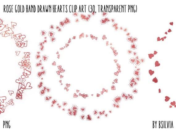 Rose Gold Hand Drawn Hearts Circled Frames Clipart, Rose Gold Digital Frames with Hearts, Rose Gold Clip Art, Transparent PNG