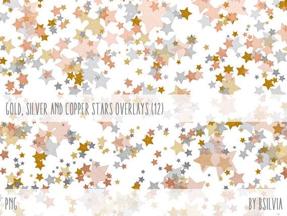 Gold, Silver and Copper Stars Overlays, Digital Overlays Pack (12), Gold Stars, Silver Stars, Copper Stars, Metallic Stars Photo Overlays