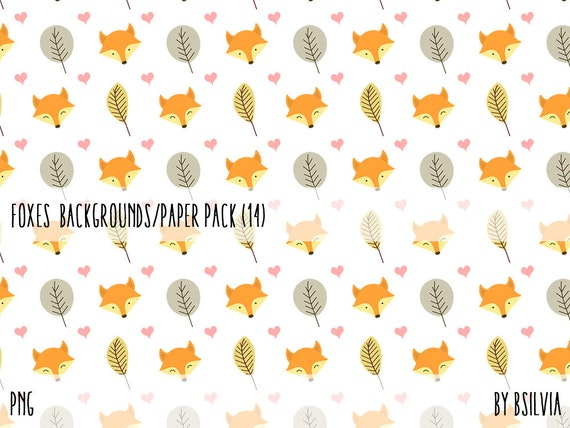 Foxes Digital Papers, Cute Animal Papers, 12x12 Digital Scrapbooking Papers, Foxes Seamless Pattern Scrapbook Papers, Instant Download