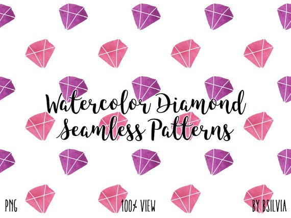 Watercolor Diamond Seamless Pattern Clip Art, Transparent PNG, Watercolor Diamond Overlays, Watercolor Transparent Clip Art, Commercial Use