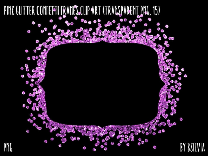 Pink Glitter Confetti Frames Clipart Transparent PNG Pink image 0