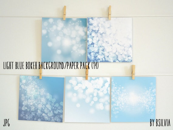 Light Blue Bokeh Paper Pack, Digital Bokeh Backgrounds, Digital Scrapbooking Paper Pack, Digital Bokeh Scrapbook Paper Pack, Commercial Use