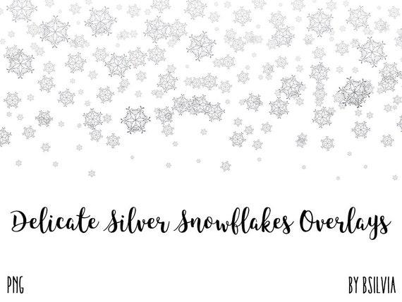 Delicate Silver Snowflakes Confetti Overlays, Silver Snowflakes Overlays, Transparent PNG Files, Silver Snowflakes Confetti Clip Art