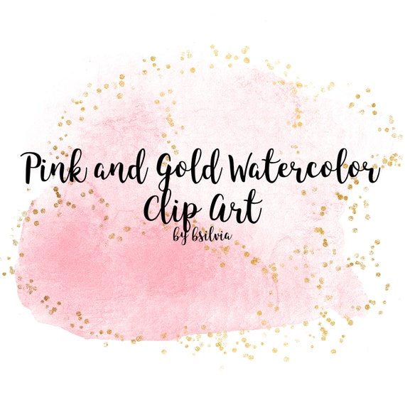 Pink and Gold Watercolor clipart, Watercolor Splashes,transparent PNG, Gold clip art, watercolor  splashes clip art, pink watercolor clipart