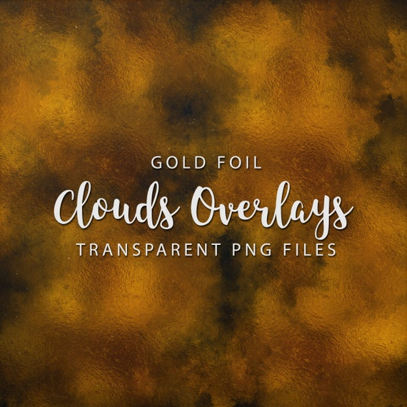 Gold Clouds Overlays Pack, Gold Overlays, Gold Foil Digital Scrapbooking Overlays, Shiny Gold Overlays, Transparent PNG, Commercial Use