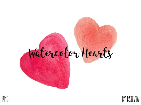 Watercolor Hearts Clip Art, Transparent PNG, Watercolor Clip Art, Watercolor Transparent Clip Art, Hearts Clip Art, Commercial Use