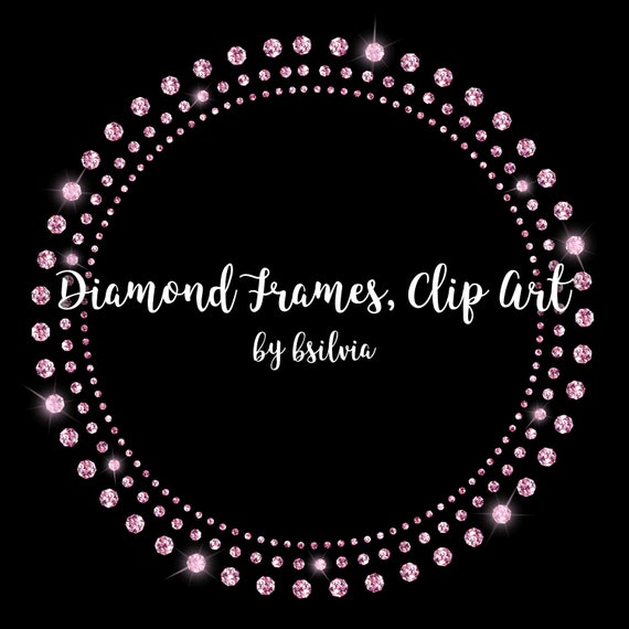Diamond Frames Clip Art, Diamond Overlays, Glam Frames, Digital Frames, Sparkle Frames Transparent PNG, Diamond Graphic, Rhinestone Frames