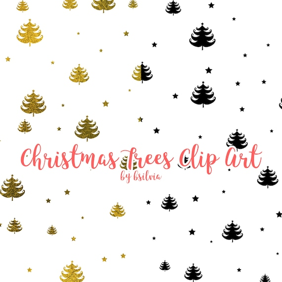 Christmas Trees Clip Art, Christmas Trees Transparent PNG files, Christmas Trees Clip Art for hot foil printing, 8.5x11, Commercial Use