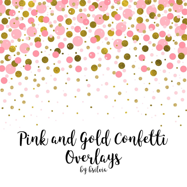 Pink and Gold Confetti Overlays, Gold Confetti Transparent PNG files, Pink  Confetti Overlays, Hearts Confetti Photo Overlays, Stars Confetti